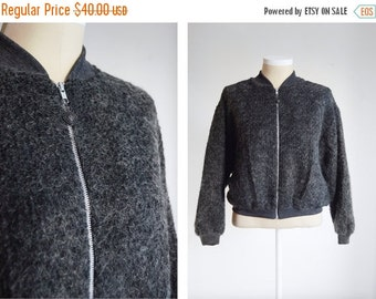 SUMMER SALE 1980s Mohair Bomber Jacket - M