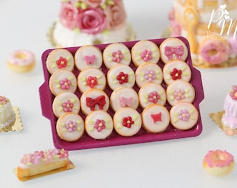 Pink-Themed Round Iced Butter Cookies on Dark Pink Metal Baking Tray - 12th Scale Miniature Food (Pink Collection 2016)