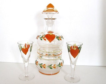 Vintage Hand Painted Decanter & Glasses Set Pennsylvania Dutch Hearts Liqueur Sherry