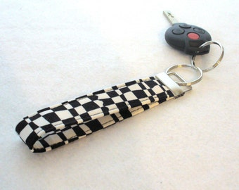 Wristlet Key Fob Luella Doss Fabric Key Fob Keyring Black White Mod Checkerboard Op Check Hot Flash Handmade MTO