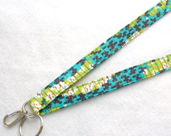 Modern Amy Butler Fabric Lanyard ID Badge Holder Breakaway Lanyard Key Ring Fob Glow Geo Waves Lime Green Turquoise