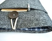 12 inch MacBook Case or 13 inch Laptop Case Cover Padded with Small Gadget Pocket - Wool and Plaid
