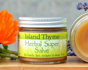 Herbal Super Salve  Our go-to/cure-all skin remedy.  Great for dry skin, hands, feet, rashes, lips, cuticles and more!  1 oz 2 oz glass jar