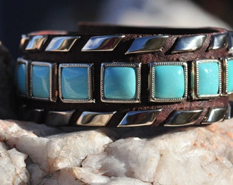 "STEPPING STONES CUFF - Turquoise Squares Framed With Ribbon Studs -  1 1/8"" wide"