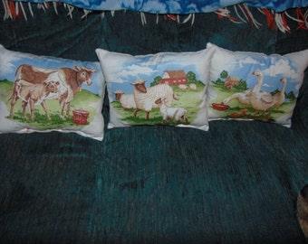 Three Small Farm Pillows