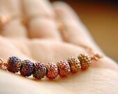 Minimalist Ombre Bar Necklace Multi-Colored Acrylic Beads  - Copper Ombre.