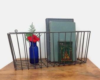 Vintage Wire Basket - Industrial Storage or Decor - Metal Bicycle Basket