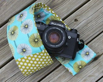Ready to Ship Monograming Not Available Wide Camera Strap for DSL Turquoise Floral Lime Polka Dot  Reverse and Lens Cap Pocket