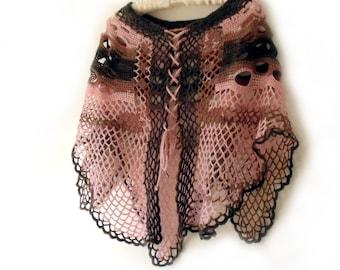 Cape, Poncho cape, Crochet poncho, Freeform crochet, Cape poncho, Hippy poncho, Lace crochet cape, Crochet wrap, Beach wrap, Fashion trend