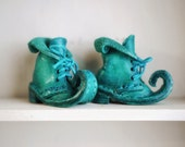 New 1:6 elf leather boot color teal blue