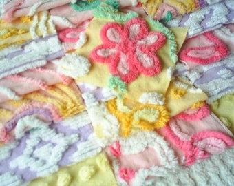 Vintage Plush Chenille Bedspread Squares- with Pink Daisy