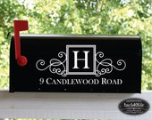 SQUARE Swirly Monogram Mailbox Address Vinyl Decal (E-004b)
