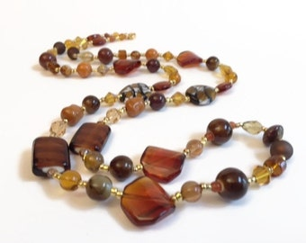 Christmas in July Sale Long Boho Necklace,Brown Beaded Glass Necklace, Brown, Amber, Topaz