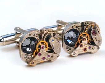 Vintage Watch Movement n Swarovski Crystal Steampunk Cuff Links