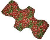 Heavy Hemp Core- Strawberries Reusable Cloth Goddess L Pad- WindPro Fleece- 14.5 Inches