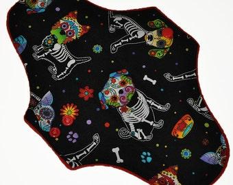 Moderate Hemp Core- Sugar Skull Puppies Reusable Cloth Maxi Pad- WindPro Fleece- 10 Inches (25.5 cm)