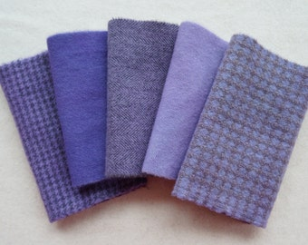 Lavender- Violet -Hand Dyed Felted Wool Fabrics Perfect for Rug Hooking, Applique, Quilting, and Sewing by Quilting Acres