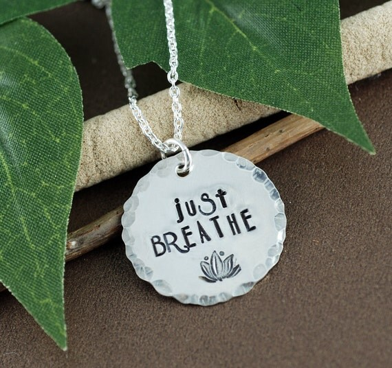 Just Breathe Necklace, Yoga Necklace, Inspirational Necklace, Hand Stamped Lotus Flower Necklace, Motivational Necklace,  Boho Chic Necklace