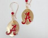 Alabama Earrings, Roll Tide Earrings, Dangle gold Alabama earrings