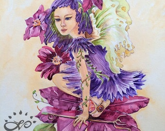 EARTH FAIRY - Root CHAKRA Connector - Grounding; Print from Watercolor by Linda Varos