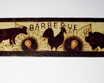 cow chicken pig barbeque bbq tool peg rack two pegs 3x10 inches hanger attached pyrography wood burning