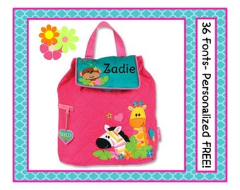 36 Fonts- Toddler Girl's ZOO JUNGLE Pink Personalized Backpack- Small Quilted Preschool Book Bag Monogrammed FREE Monkey, Giraffe, Zebra