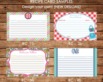 NEW Designs - Personalized Recipe Cards - Design your own - Choose ONE DESIGN