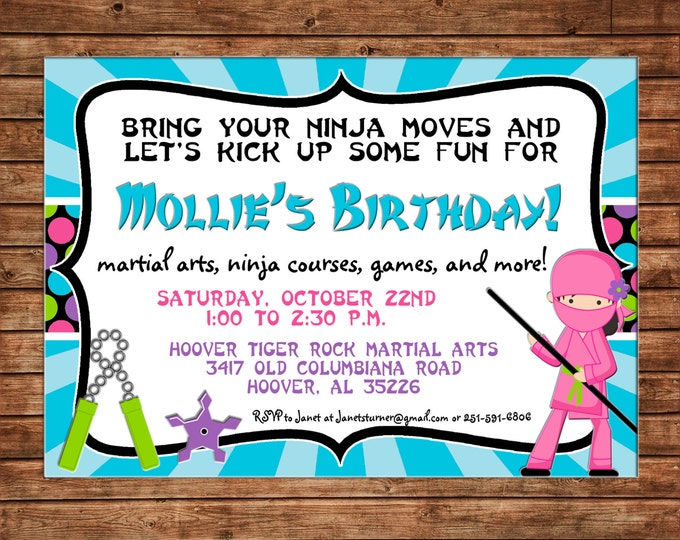 Girl Ninja Warrior Karate Kick Move Martial Arts Birthday Party Invitation - DIGITAL FILE