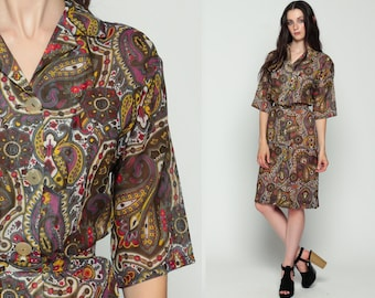 Paisley Dress 60s Mod Shirtdress Button Up Hippie Boho Midi 70s Psychedelic Print BELTED 3/4 Sleeve Vintage Bohemian Collar Large