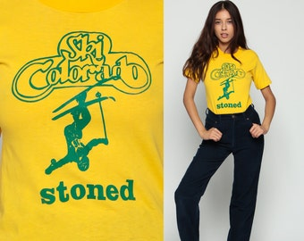 Stoner Shirt SKI COLORADO STONED 80s T Shirt Weed Top Paper Thin 1980s Retro TShirt Skiing Print Vintage Graphic Tee Yellow Small