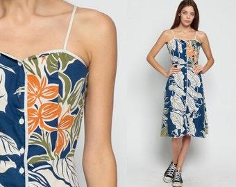 Boho Dress 70s Sundress LEAF PRINT Sun Hawaiian Floral Sweetheart Spaghetti Strap 1970s Bohemian Vintage High Waist Midi Button Up Small
