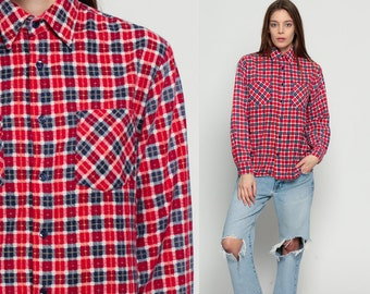 Red FLANNEL Shirt Plaid Button Down up 70s White Navy Blue Checkered Long Sleeve 1970s Lumberjack Vintage Grunge Hipster Small Medium