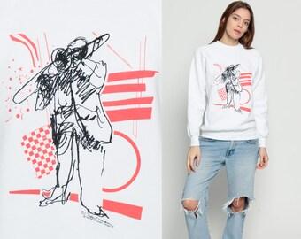 Jazz Shirt Music Sweatshirt MONTEREY JAZZ FESTIVAL 90s Slouch Jumper Trombone Vintage Pullover Graphic White California Medium