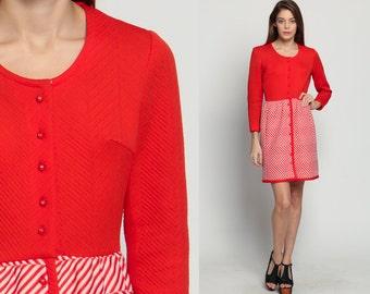 70s Mini Dress ZIG ZAG Stripe 60s Mod Boho High Waisted Op Art Print Vintage Long Sleeve Button Up Bohemian Red White Medium