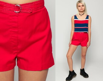 High Waist Shorts 70s 80s Red Cotton Shorts Colored Hipster 1970s Mod High Rise Hipster Vintage Retro Plain Small