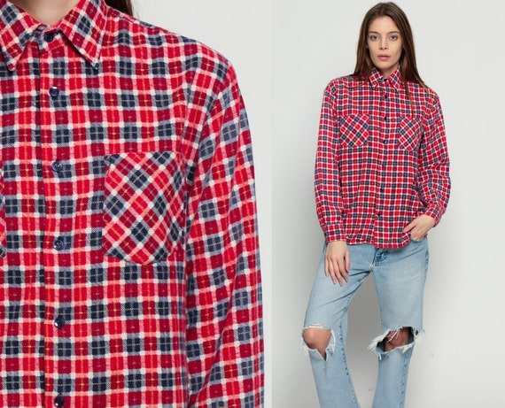 Red flannel shirt plaid button down up 70s white navy blue for Navy blue and red flannel shirt
