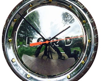 Hubcap Clock, 1960s, 70s, Ford with numbering (f classic car clock)