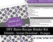Purple & Gray Retro printable recipe binder kit editable planner instant download recipe book DIY recipe organizer PDF