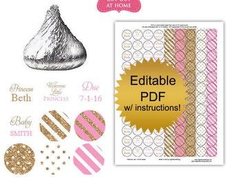 DIY editable printable candy stickers Princess gold pink baby girl shower favors Digital File (No.k87)