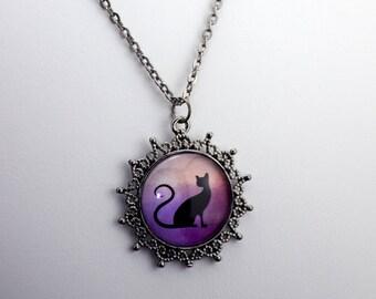 "Cat Silhouette Necklace  - Gunmetal Gray 1"" Circle Pendant"