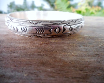 Florence Tahe Navajo Native American Sterling Bangle Bracelet