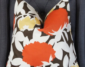 Orange Floral Pillow Cover, Decorative Pillow, Throw Pillow, Toss Pillow, Thomas Paul Hedge Fabric, Autumn, Home Furnishing, Home Decor