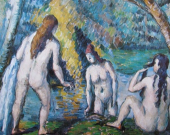 Paul Cezanne, Three Bathers, Mature Content, 1879, 9 x 9 in. Reproduction Impressionist Print,Color Plate, 1970 Book Print