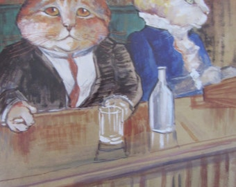 Cat Print, Based on Toulouse-Lautrec's, At The Bar, 8 x 10 in Reproduction Art Print, Impressionist Print, Vintage Book Page
