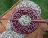 Purpleheart Shawl Pin - Handmade Wooden Shawl Pin in Reclaimed Wood - Eco Knitting Supplies