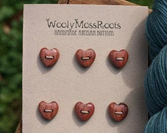 6 Wood Heart Buttons- Handmade Wooden Buttons- Wooden Button- Knitting, Sewing, Craft Buttons- DIY Craft Supply