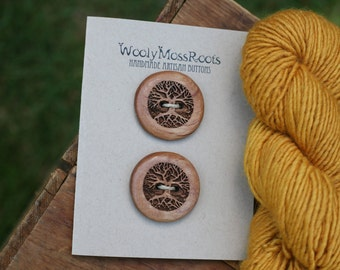 2 Mahogany Tree Buttons- Handmade Wooden Buttons- Wooden Buttons- Eco Craft Supplies, Eco Knitting Supplies, Eco Sewing Supplies
