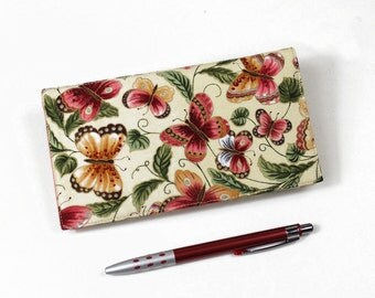 Butterflies Checkbook Cover for Duplicate Checks with Pen Holder on Ivory Cotton Fabric
