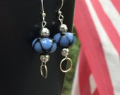 Lampwork Glass Bead Earrings, blue & black bead earrings, bead earrings, infinity, loops, dangle earring, edgy earrings, minimalist earrings