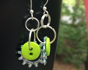 Industrial earrings, button earrings, washer earrings, lock washer earrings, hardware earrings, lime button earrings, star earrings